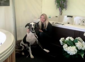 Jennifer with company mascot Harlie the Great Dane
