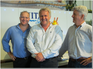 Richard Hart(middle) with MAAX Spas CEO John Johnson and James McClure(right)